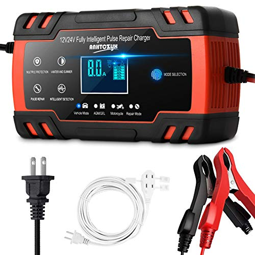 Enhanced Edition Car Battery Charger 12V/8A 24V/4A Compatible Automotive Smart Portable Battery Charger Maintainer/Pulse Repair Charger Pack for Car, Motorcycle, Lawn Mower and More