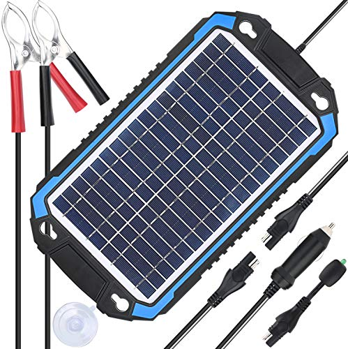 SUNER POWER 12V Solar Car Battery Charger & Maintainer – Portable 6W Solar Panel Trickle Charging Kit for Automotive, Motorcycle, Boat, Marine, RV, Trailer, Powersports, Snowmobile, etc.