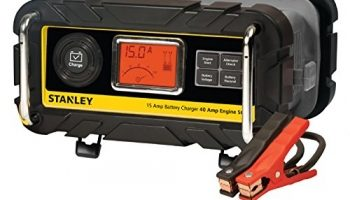 STANLEY BC15BS Fully Automatic 15 Amp 12V Bench Battery Charger/Maintainer with 40A Engine Start, Alternator Check, Cable Clamps